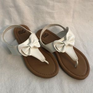 Faded Glory White Bow Flip Flop Sandal Size 11